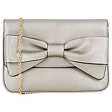 Buy Oasis Bow Clutch Bag, Metallic Pewter Online at johnlewis.com