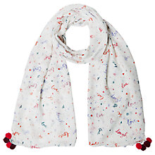 Buy White Stuff Live Laugh Love Scarf, White/Multi Online at johnlewis.com