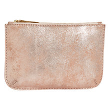 Buy Jigsaw Alba Medium Textured Leather Pouch Clutch, Gold Online at johnlewis.com