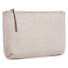 Buy Jigsaw Alba Medium Textured Leather Pouch, Taupe Online at johnlewis.com