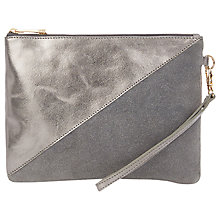 Buy Oasis Fifi Zip Leather Clutch Bag, Silver Online at johnlewis.com