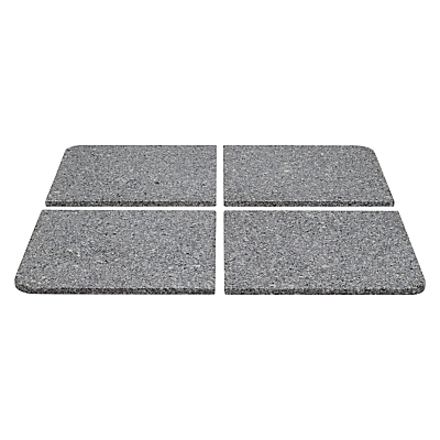 John Lewis & Partners Parasol Base Weight Slabs, Granite, Set of 4, 40kg