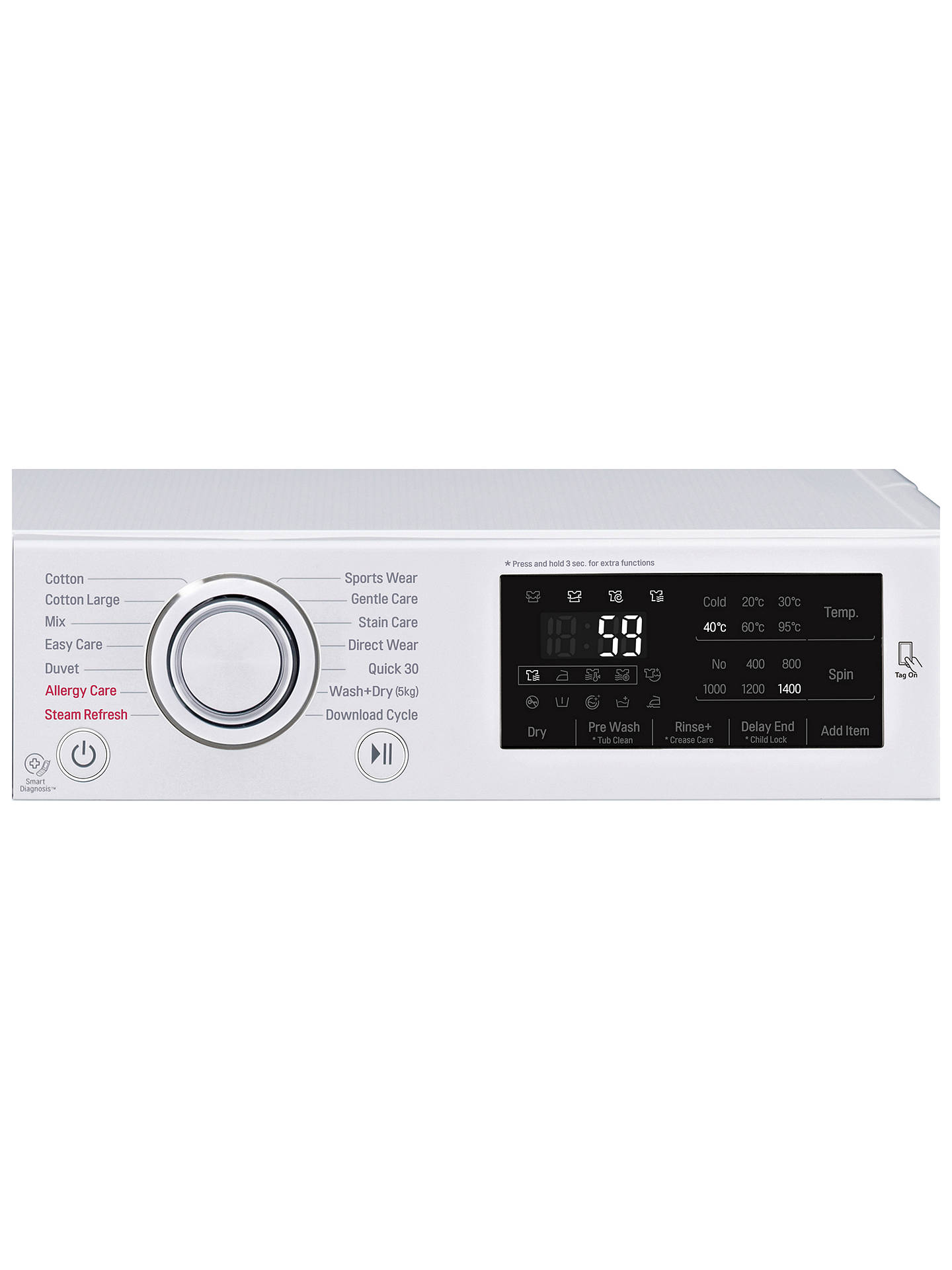 LG F4J6VG0W Freestanding Washer Dryer, 9kg Wash/5kg Dry Load, A Energy  Rating, 1400rpm Spin, White