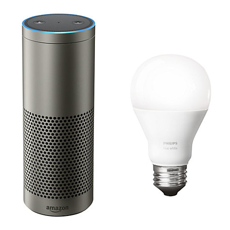 Buy Amazon Echo Plus Smart Speaker with Built-in Smart Home Hub with Alexa Voice Recognition & Control, Silver + Philips Hue White 9.5W A60 Smart Bulb, E27 Fitting Online at johnlewis.com