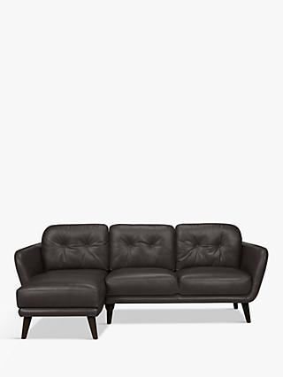 House by John Lewis Arlo LHF Chaise End Leather Sofa, Dark Leg