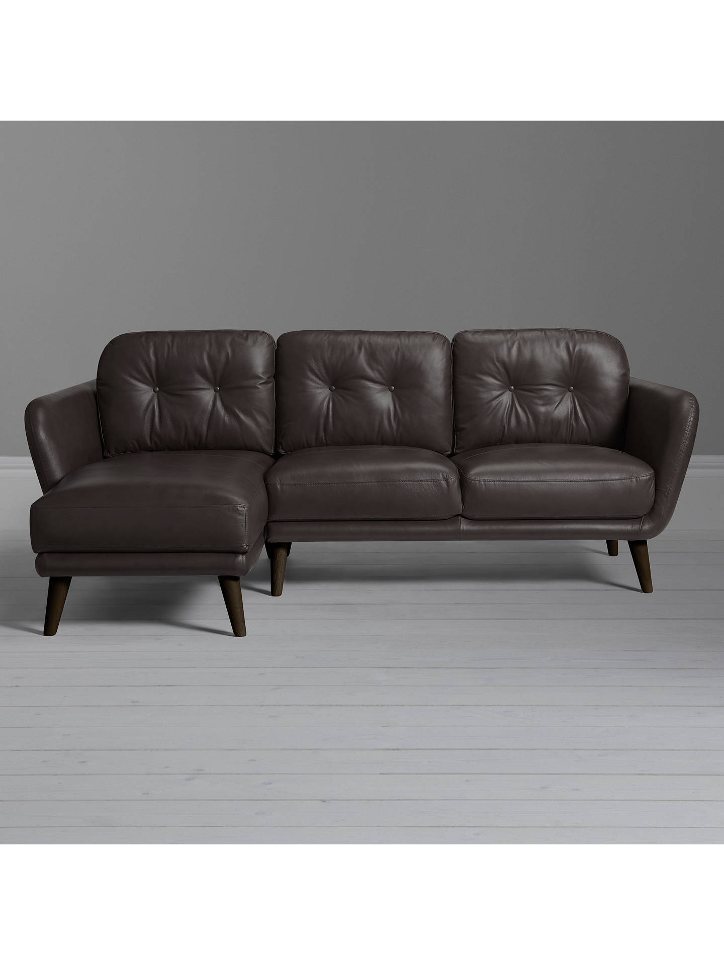 Buy House by John Lewis Arlo LHF Chaise End Leather Sofa, Dark Leg, Demetra Charcoal Online at johnlewis.com