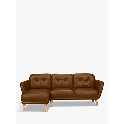 House by John Lewis Arlo LHF Chaise End Leather Sofa, Light Leg