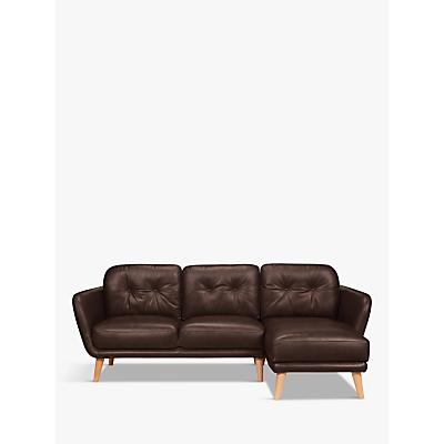 House by John Lewis Arlo RHF Chaise End Leather Sofa, Light Leg