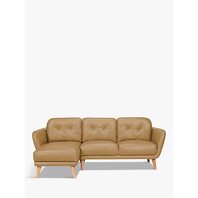 House by John Lewis Arlo LHF Chaise End Leather Sofa, Light Leg