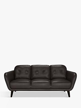 House by John Lewis Arlo Large 3 Seater Leather Sofa, Dark Leg