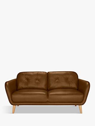 House by John Lewis Arlo Medium 2 Seater Leather Sofa, Dark Leg