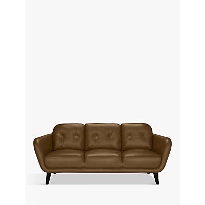 House by John Lewis Arlo Large 3 Seater Leather Sofa, Light Leg