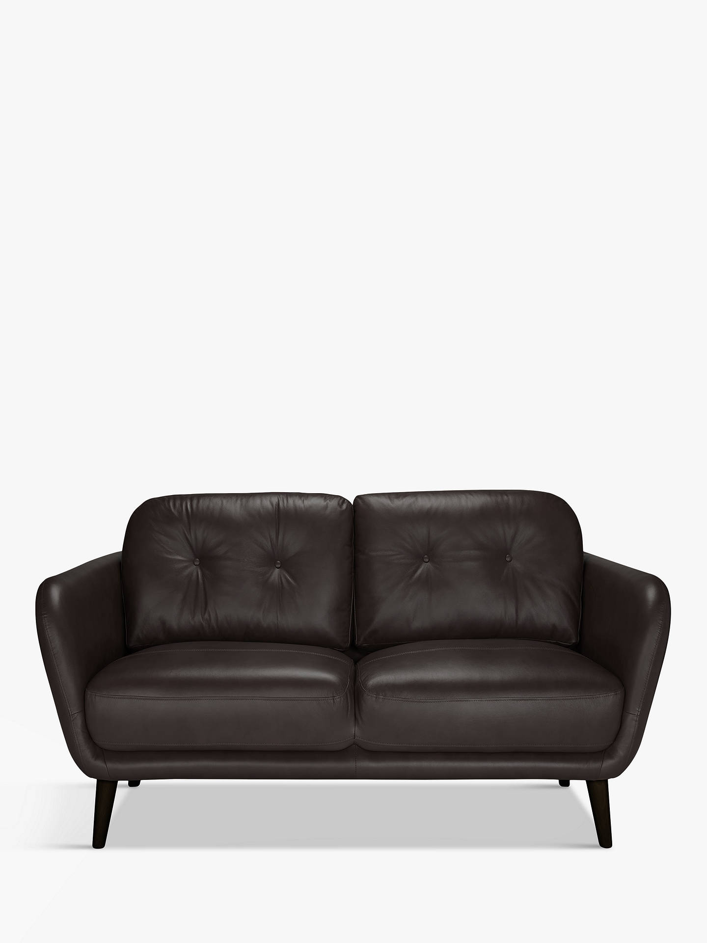 BuyHouse by John Lewis Arlo Small 2 Seater Leather Sofa, Dark Leg, Demetra Charcoal Online at johnlewis.com