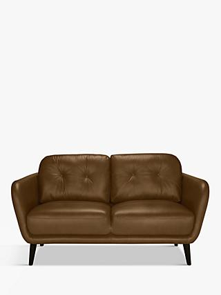 House by John Lewis Arlo Small 2 Seater Leather Sofa, Dark Leg
