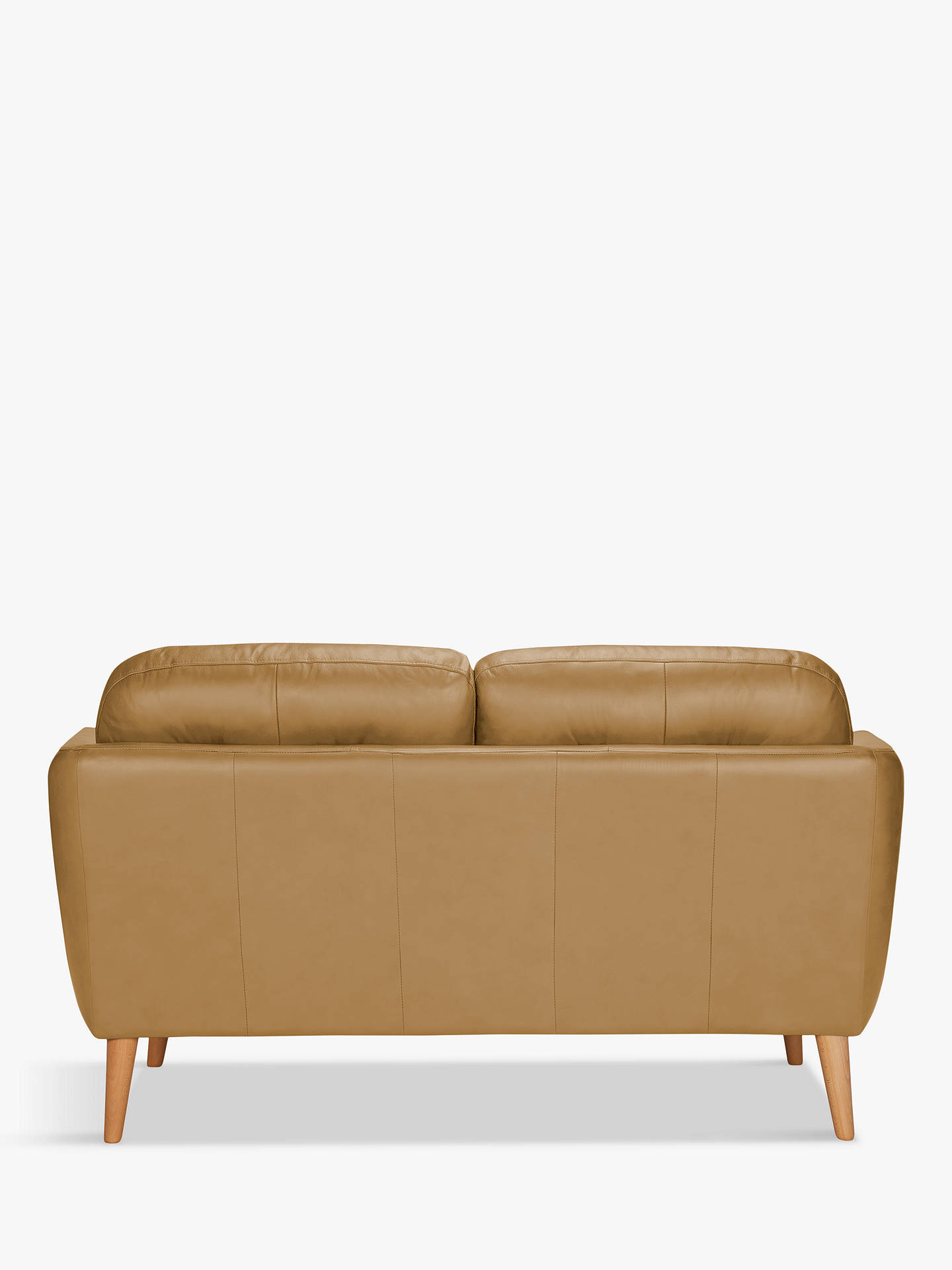 Buy House by John Lewis Arlo Small 2 Seater Leather Sofa, Dark Leg, Sellvagio Parchment Online at johnlewis.com