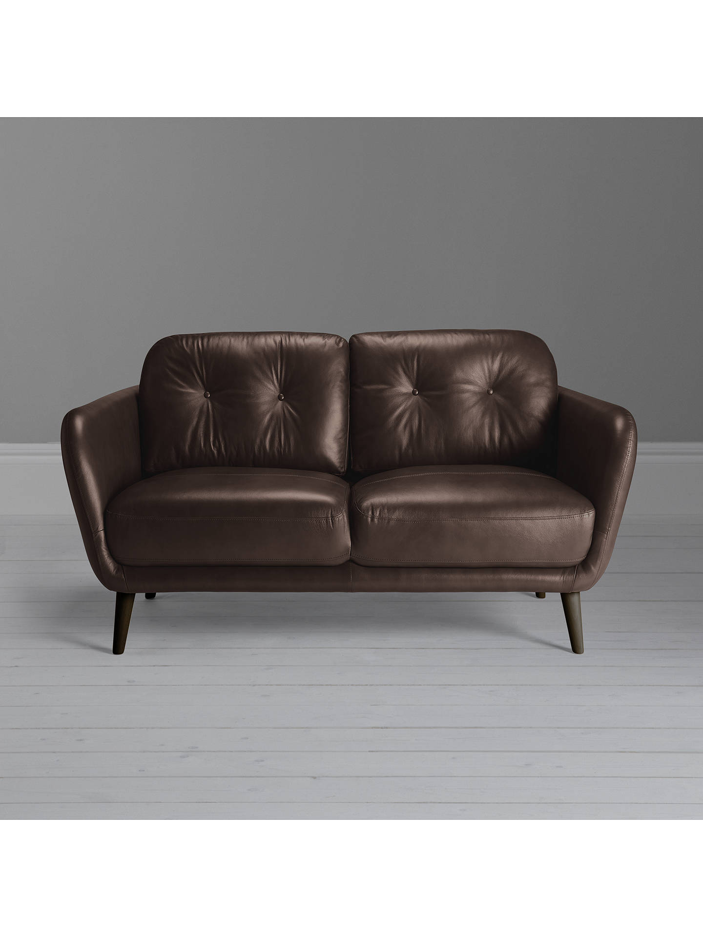 Buy House by John Lewis Arlo Small 2 Seater Leather Sofa, Dark Leg, Nature Brown Online at johnlewis.com