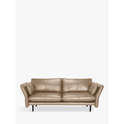 Design Project by John Lewis No.142 Large 3 Seater Leather Sofa, Dark Leg