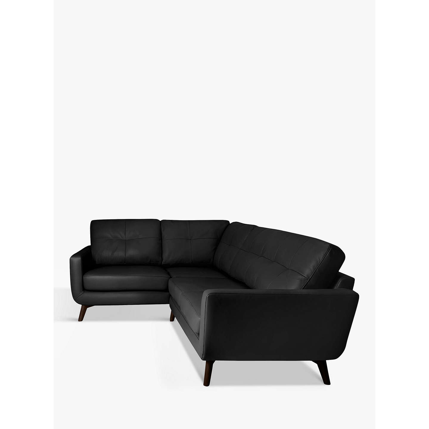 BuyJohn Lewis Barbican Leather LHF Corner End Sofa, Dark Leg, Contempo Black Online at johnlewis.com