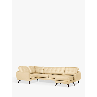 John Lewis & Partners Barbican Leather RHF Medium Corner Chaise End Sofa, Dark Leg