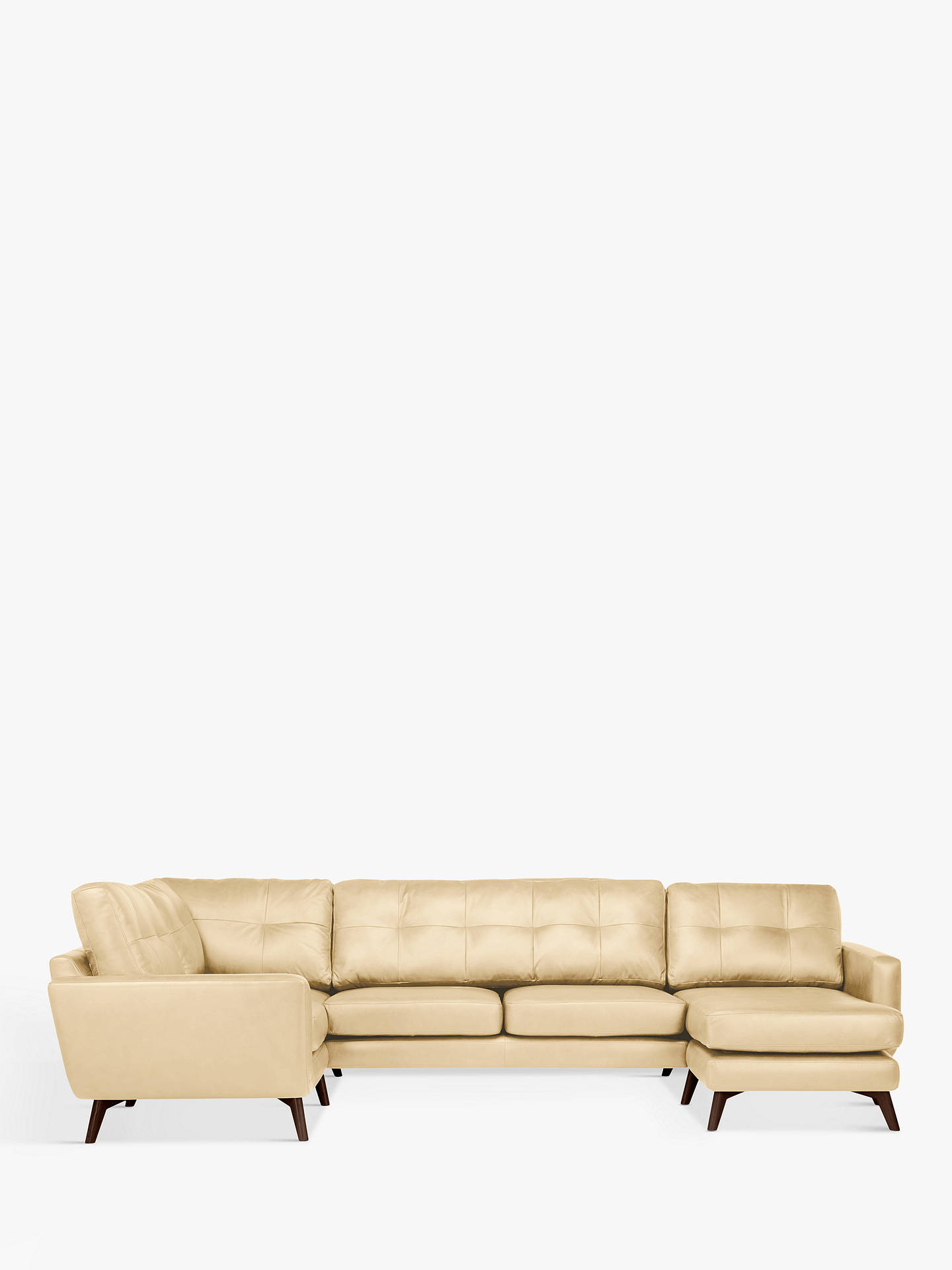 Buy John Lewis & Partners Barbican Leather RHF Medium Corner Chaise End Sofa, Dark Leg, Nature Cream Online at johnlewis.com