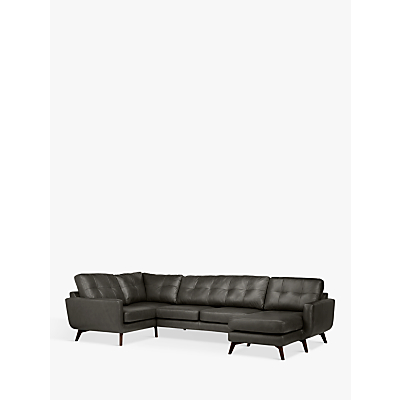 John Lewis & Partners Barbican Leather RHF Medium Corner Chaise End Sofa, Dark Leg