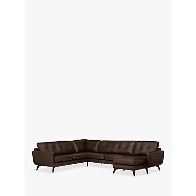 John Lewis & Partners Barbican Leather RHF Grand Corner Chaise End Sofa, Dark Leg
