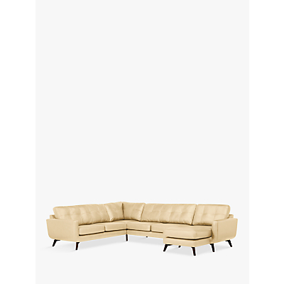 John Lewis & Partners Barbican Leather RHF Grand Corner Chaise End Sofa, Dark Leg