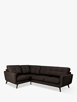 John Lewis & Partners Barbican 5+ Seater LHF Corner End Leather Sofa, Dark Leg
