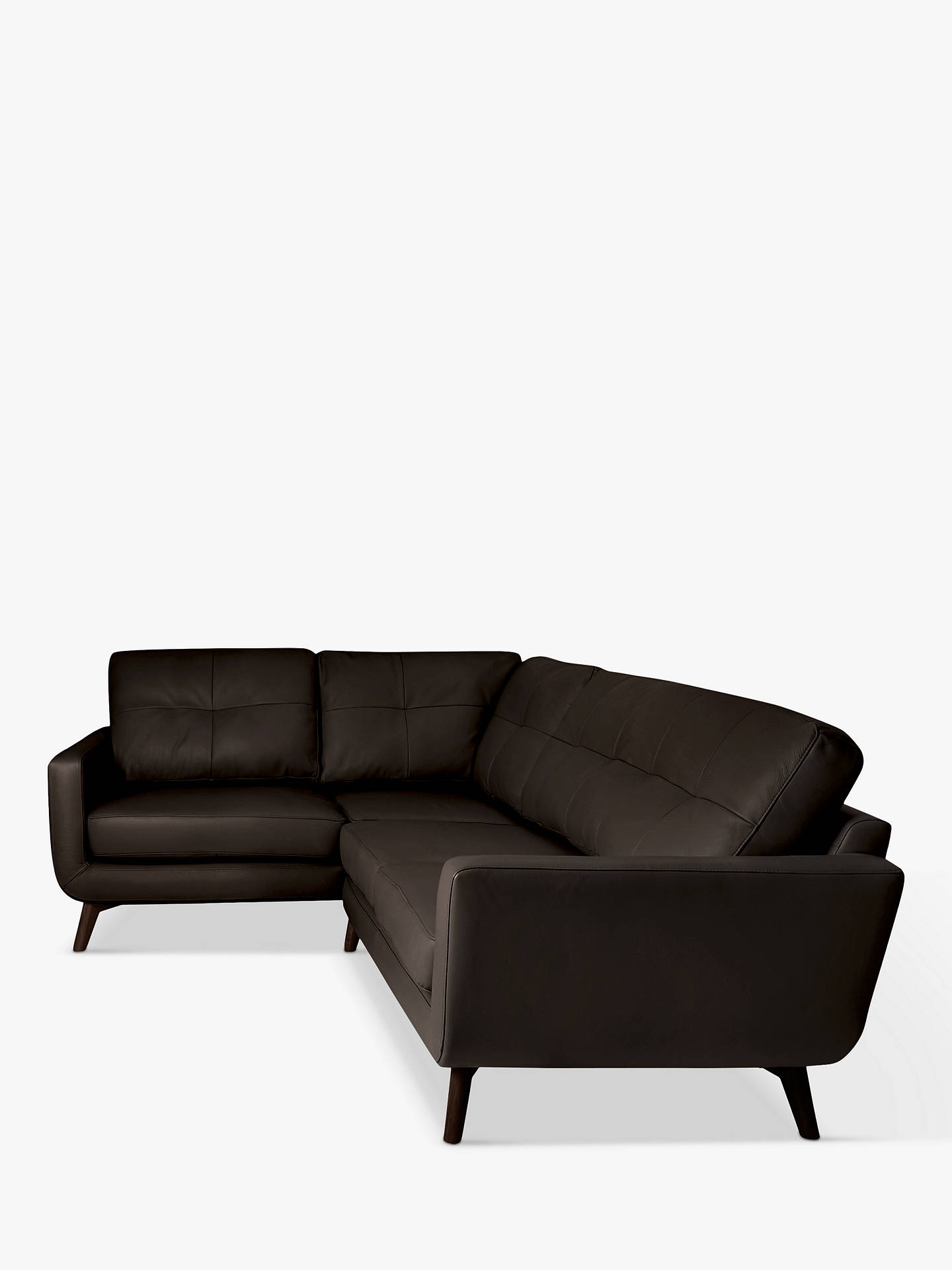 BuyJohn Lewis & Partners Barbican Leather LHF Corner End Sofa, Dark Leg, Contempo Dark Chocolate Online at johnlewis.com