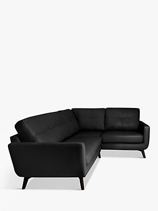 John Lewis & Partners Barbican RHF Corner End Leather Sofa, Dark Leg