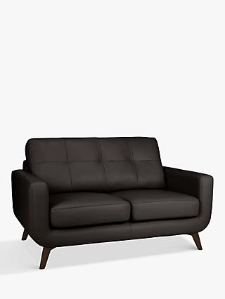 John Lewis & Partners Barbican Leather Small 2 Seater Sofa, Dark Leg