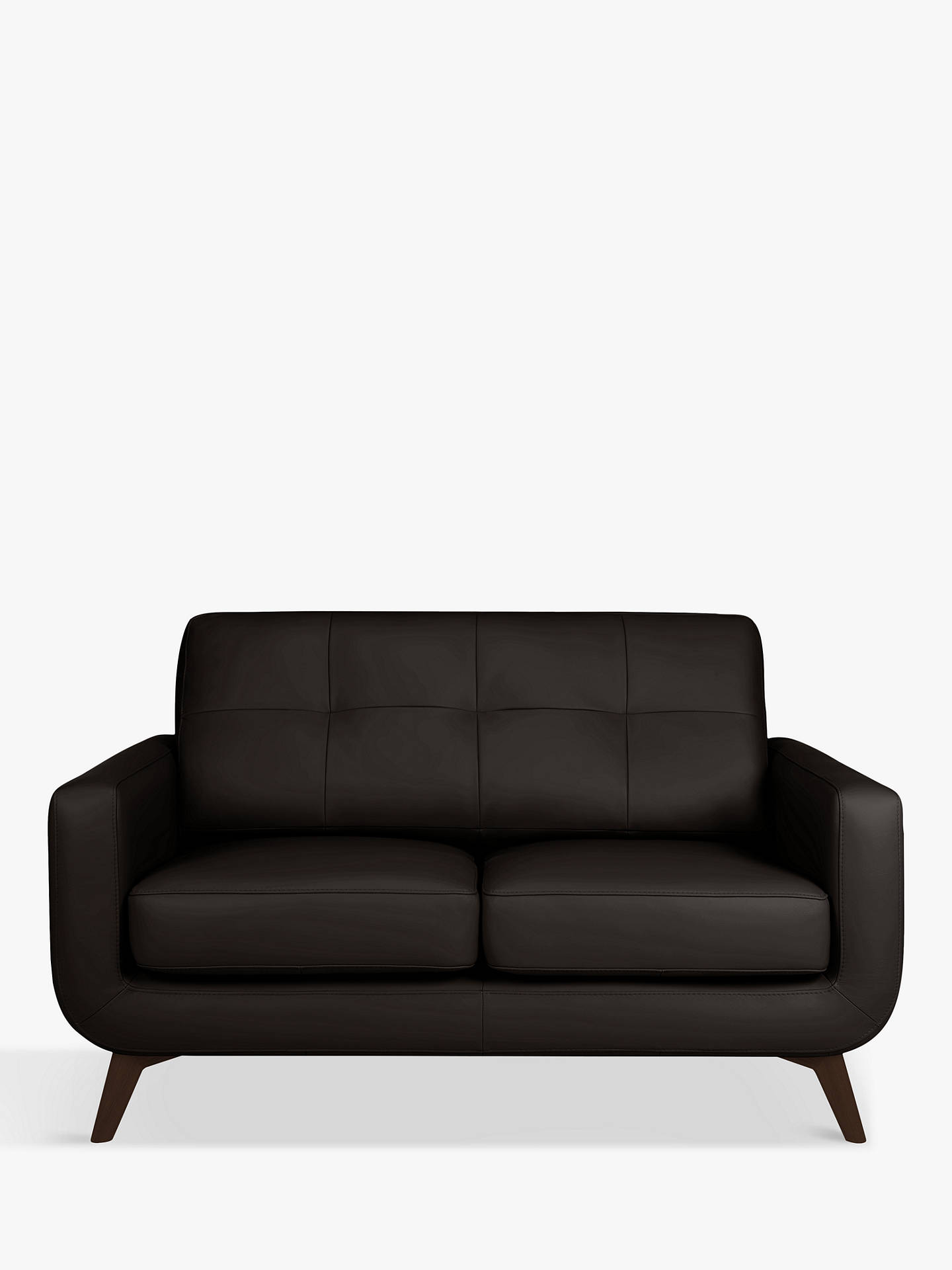 Buy John Lewis & Partners Barbican Small 2 Seater Leather Sofa, Dark Leg, Demetra Charcoal Online at johnlewis.com