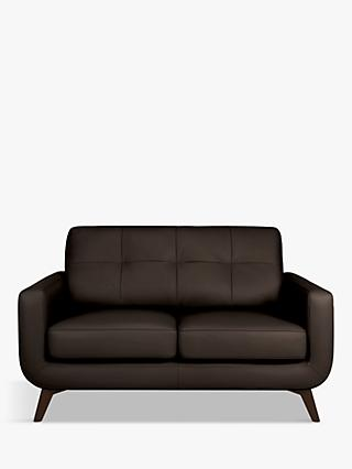 John Lewis & Partners Barbican Small 2 Seater Leather Sofa, Dark Leg