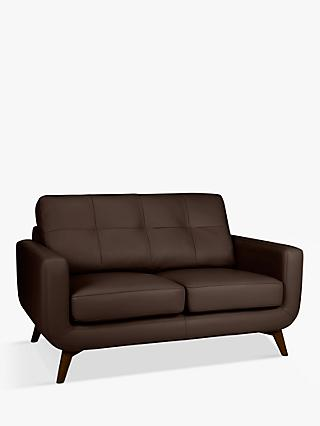 John Lewis & Partners Barbican Leather Medium 2 Seater Sofa, Dark Leg