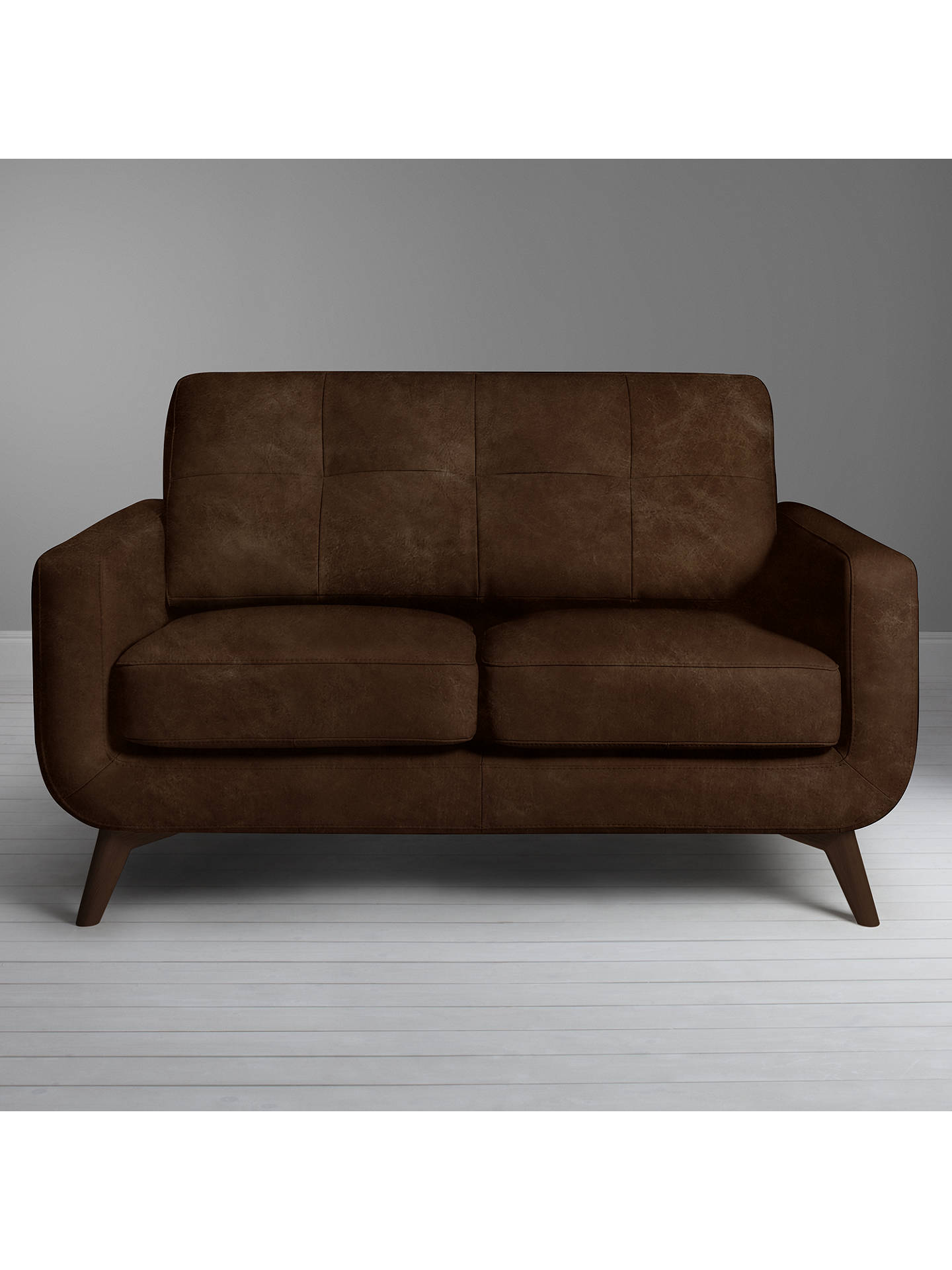Buy John Lewis & Partners Barbican Small 2 Seater Leather Sofa, Dark Leg, Winchester Anthracite Online at johnlewis.com