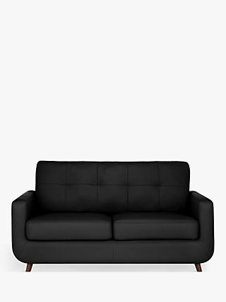 John Lewis & Partners Barbican Medium 2 Seater Leather Sofa, Dark Leg