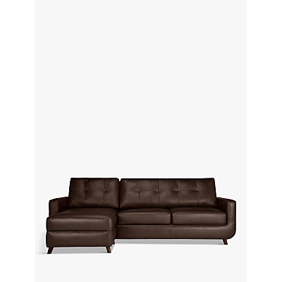 John Lewis & Partners Barbican Leather LHF Chaise End Sofa, Dark Leg