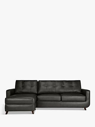 John Lewis & Partners Barbican LHF Chaise End Leather Sofa, Dark Leg