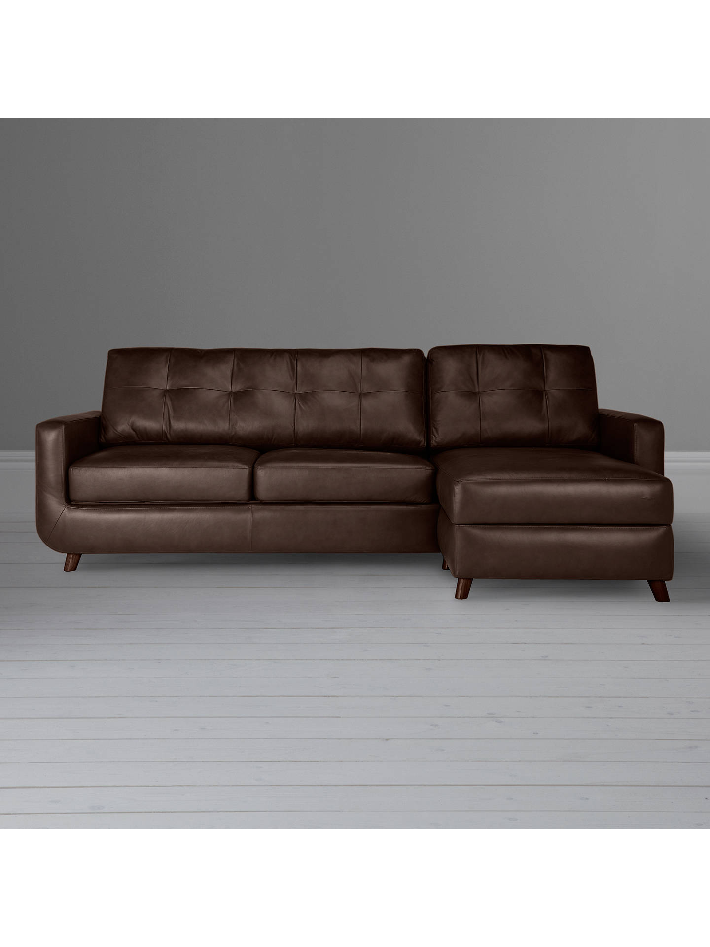 Buy John Lewis & Partners Barbican Leather RHF Chaise End Sofa, Dark Leg, Contempo Dark Chocolate Online at johnlewis.com
