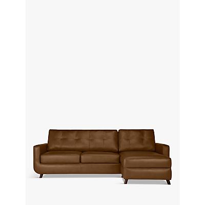 John Lewis & Partners Barbican Leather RHF Chaise End Sofa, Dark Leg