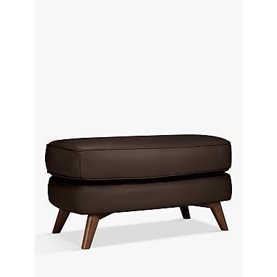 John Lewis & Partners Barbican Leather Footstool, Dark Leg