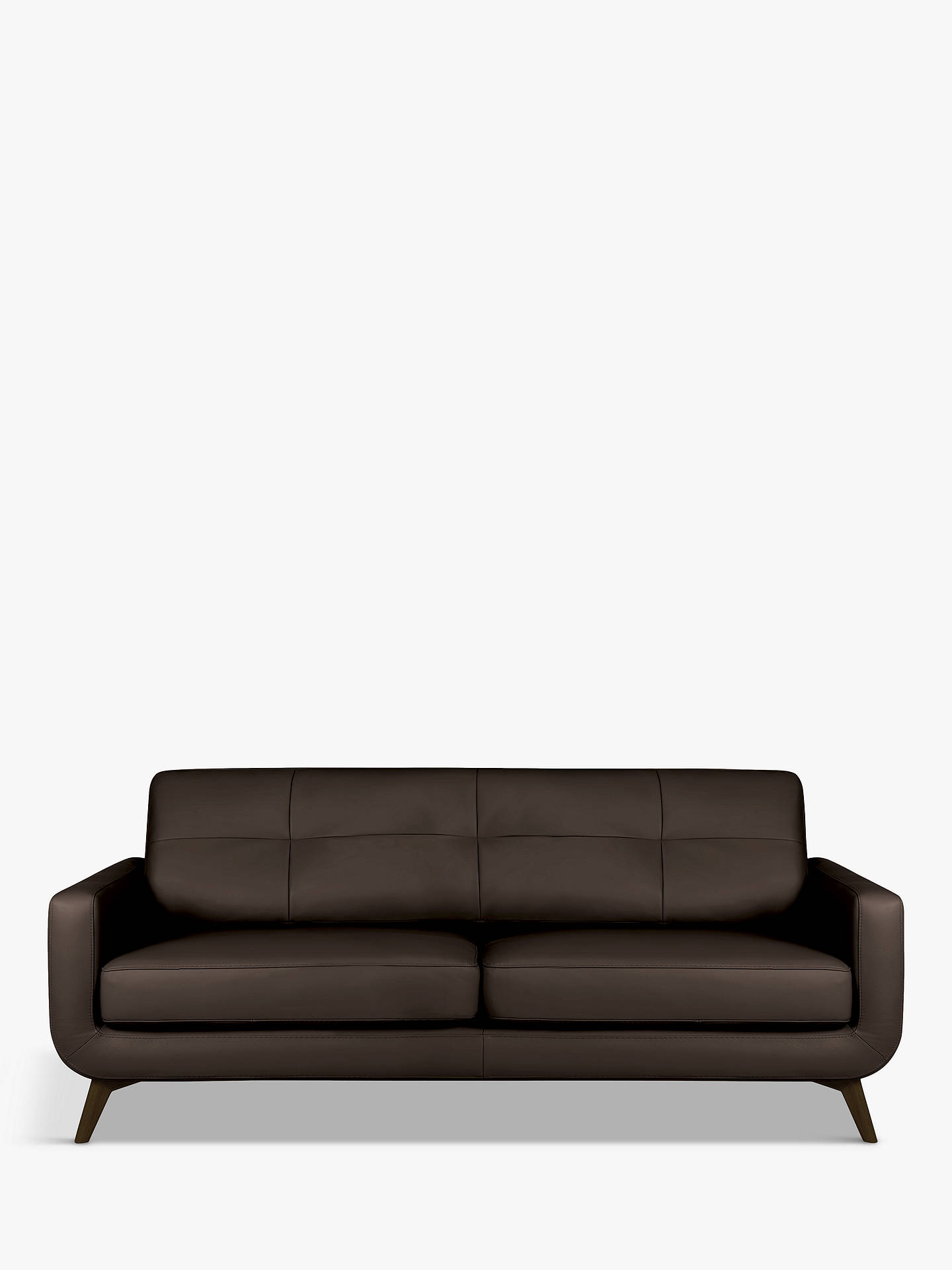 Buy John Lewis & Partners Barbican Large 3 Seater Leather Sofa, Dark Leg, Contempo Dark Chocolate Online at johnlewis.com
