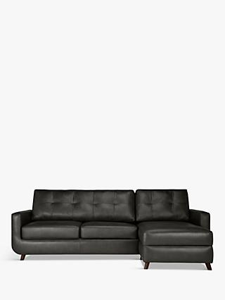 John Lewis & Partners Barbican RHF Chaise End Leather Sofa, Dark Leg