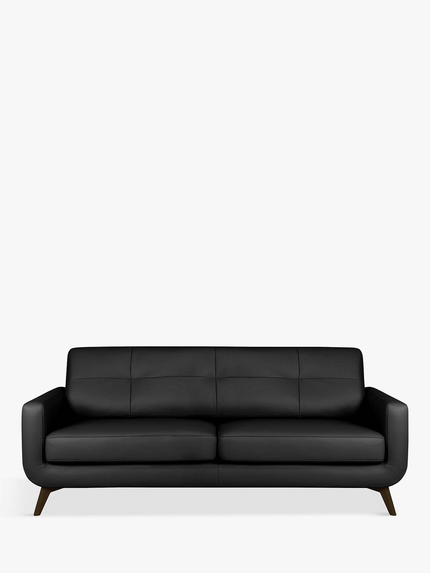 John Lewis & Partners Barbican Leather Large 3 Seater Sofa, Dark Leg,  Contempo Black