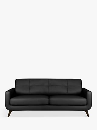 John Lewis & Partners Barbican Leather Large 3 Seater Sofa, Dark Leg