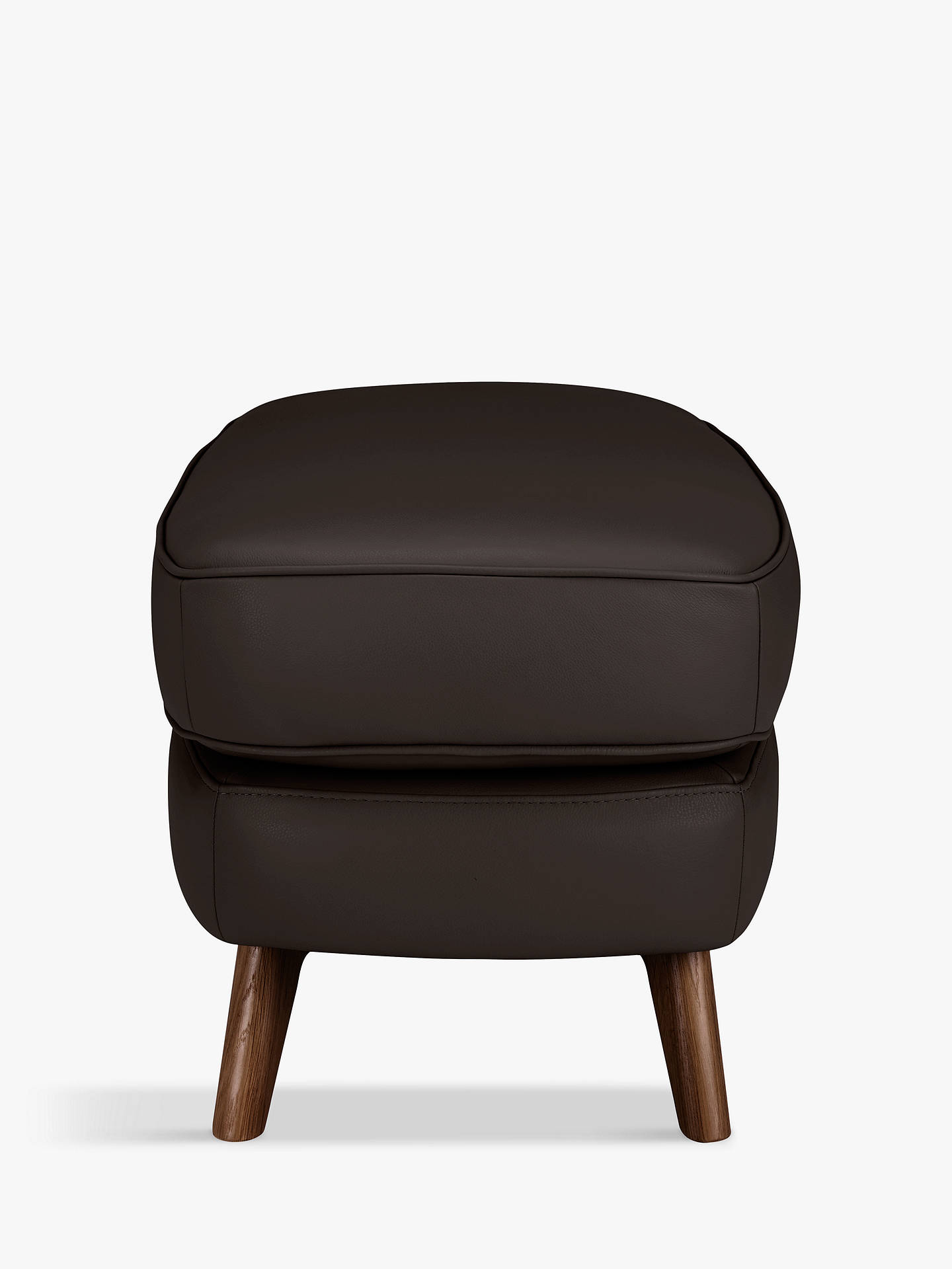 Buy John Lewis & Partners Barbican Leather Footstool, Dark Leg, Demetra Charcoal Online at johnlewis.com