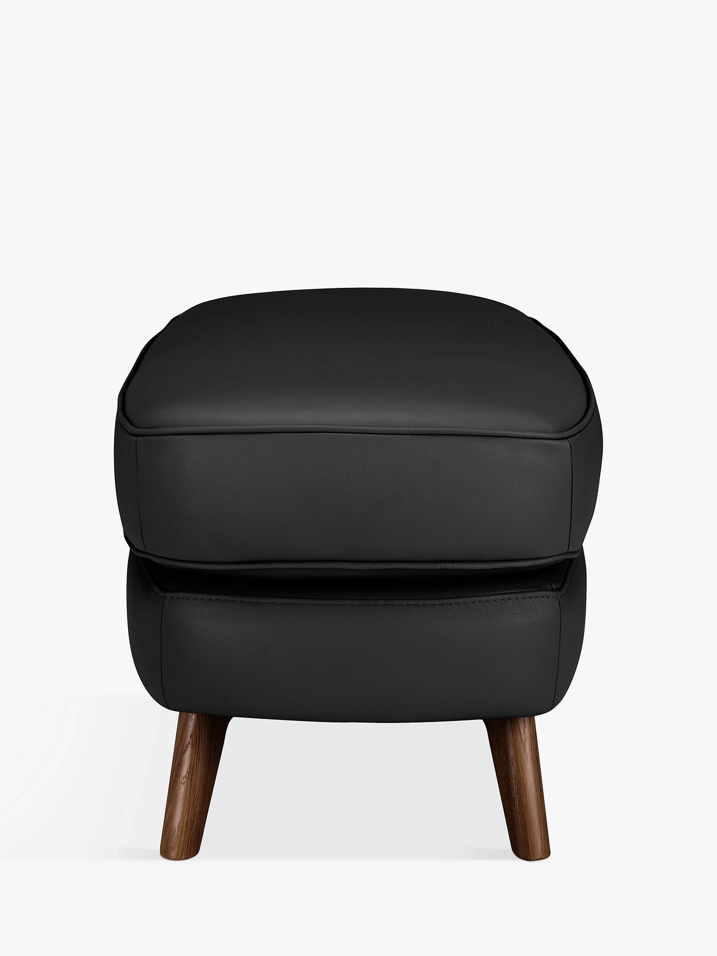 Buy John Lewis & Partners Barbican Leather Footstool, Dark Leg, Contempo Black Online at johnlewis.com