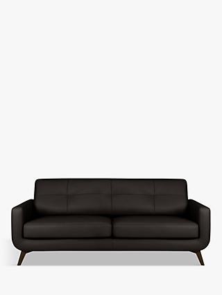 John Lewis & Partners Barbican Large 3 Seater Leather Sofa, Dark Leg