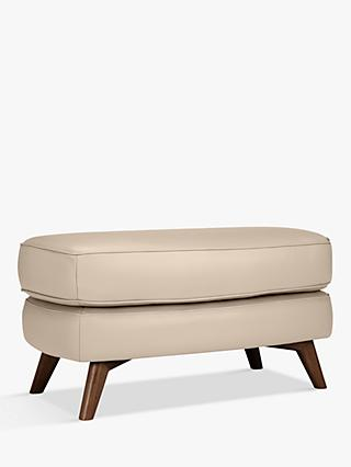 John Lewis & Partners Barbican Leather Footstool, Dark Leg