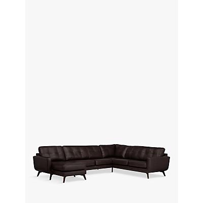 John Lewis & Partners Barbican Leather LHF Grand Corner Chaise End Sofa, Dark Leg